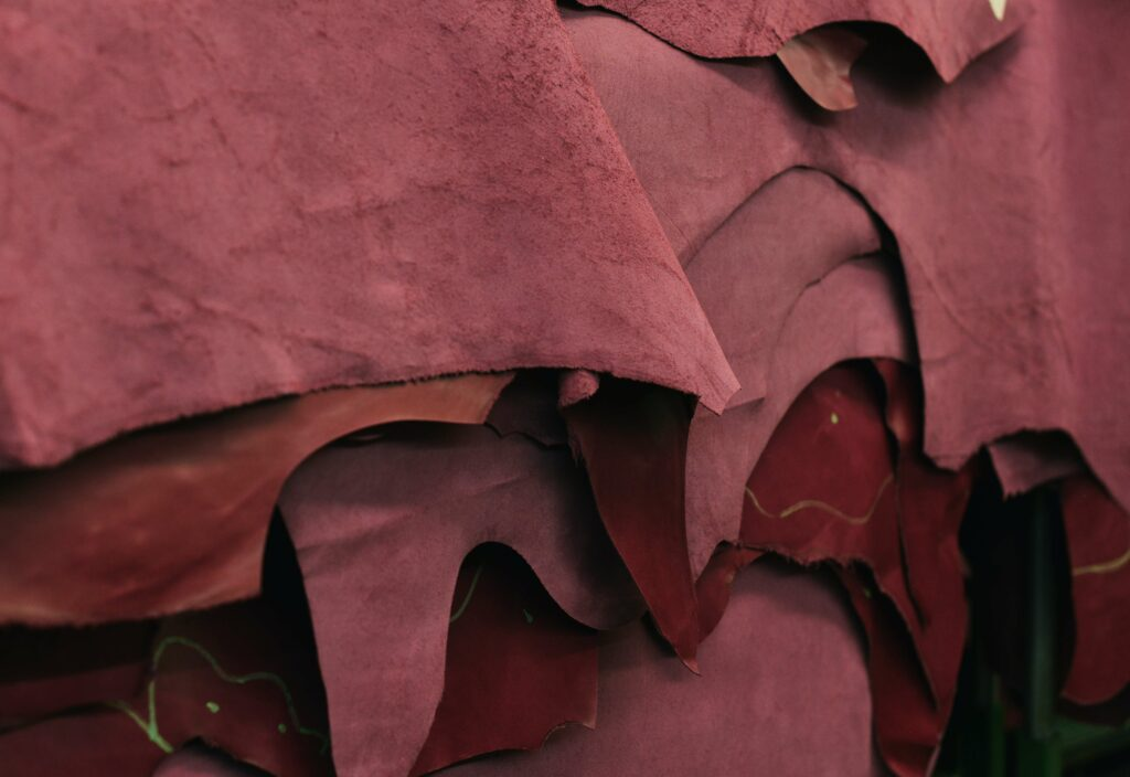Red dyed pieces of leather